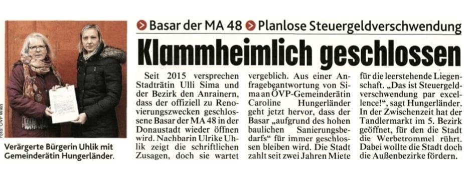 Planlosigkeit: 48er Basar in Donaustadt geschlossen